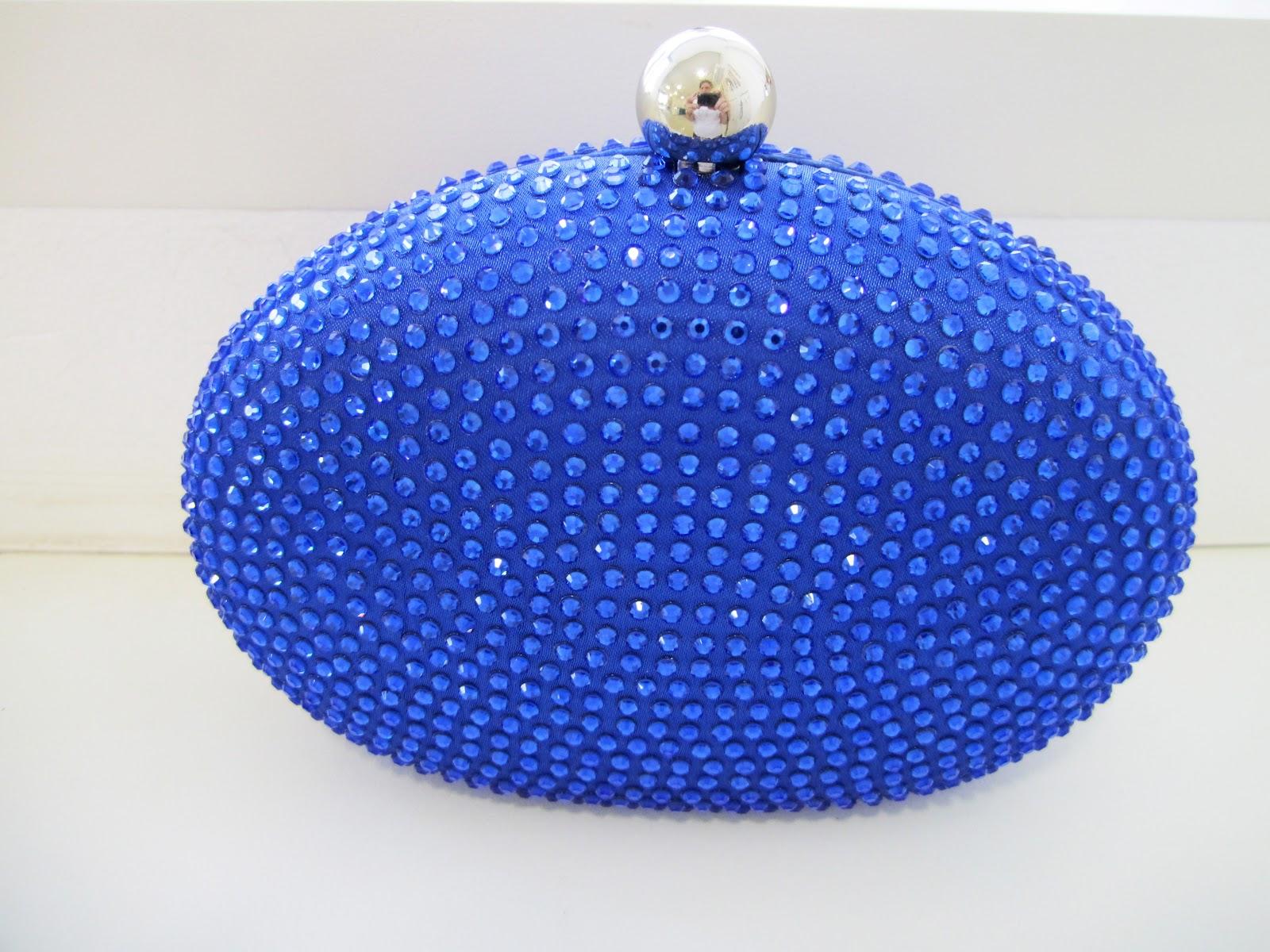 Bolsa de festa cristal swarovski : Espa?o rs festa azul