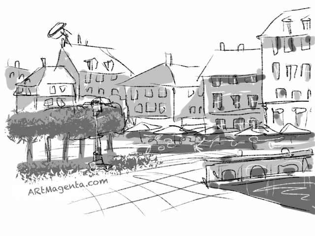 Kongens Nytorv and Nyhavn in Copenhagen. A sketch drawn on iPad by Artmagenta.