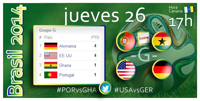 Portugal - Ghana (17.00h) EEUU - Alemania (17.00h) #Mundial2014 #Canarias