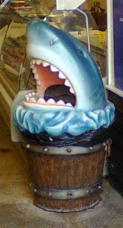 We spotted this shark bin in a seafood shop in Whitstable!