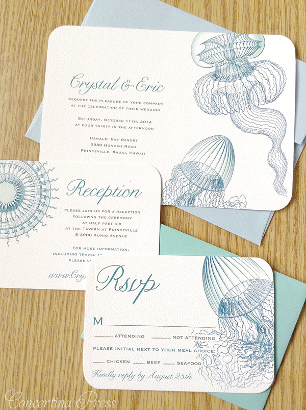 Jellyfish Wedding Invitations from Concertina Press