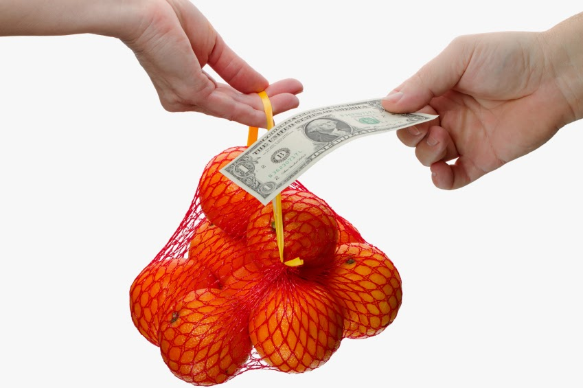 Bitcoins and the exchange of oranges for currency