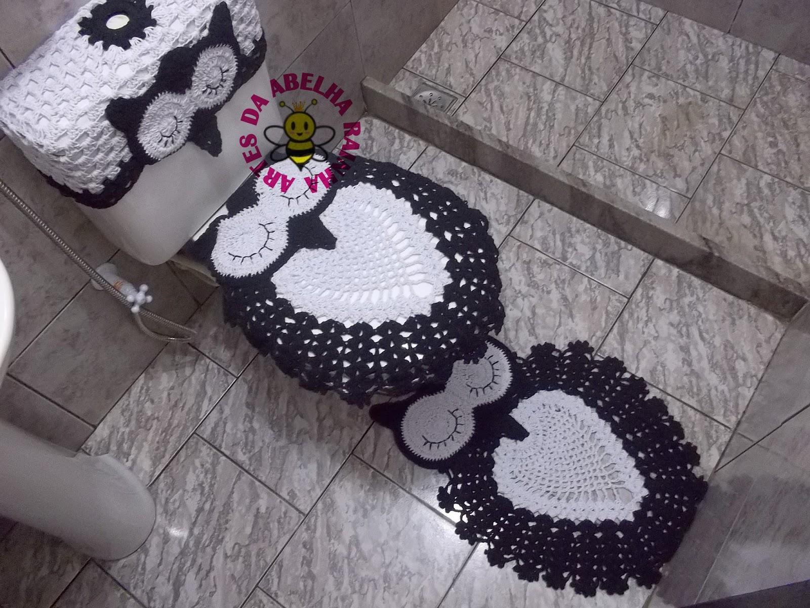 Imagens de #645C1F  da Abelha Rainha: Jogo de banheiro corujas dorminhocas preto e branco 1600x1200 px 2718 Box Banheiro Preto E Branco