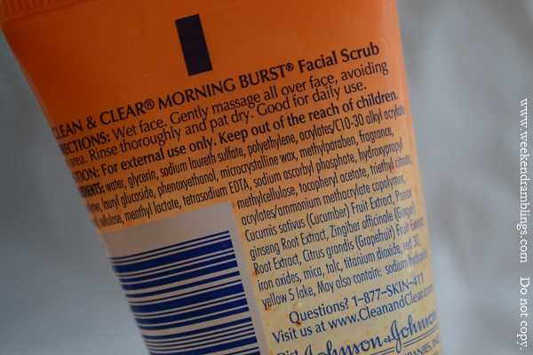 clean and clear morning burst facial scrub reviews ingredients