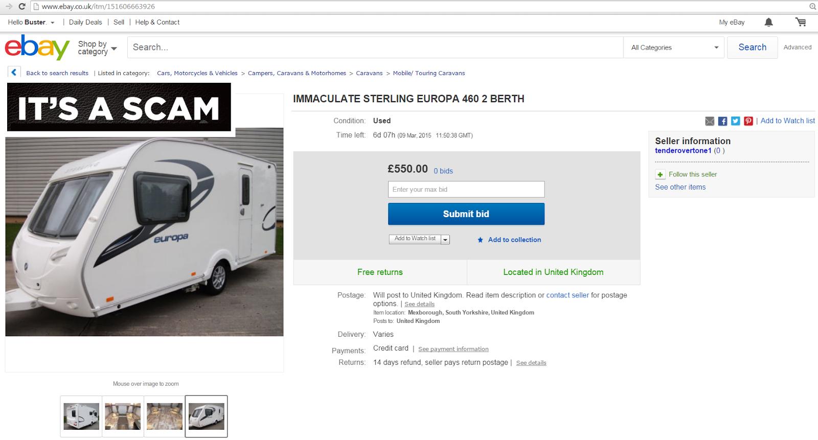 Ebay scam : Sterling europa 460 caravan - fraud on ebay - 03-mar-15 ...