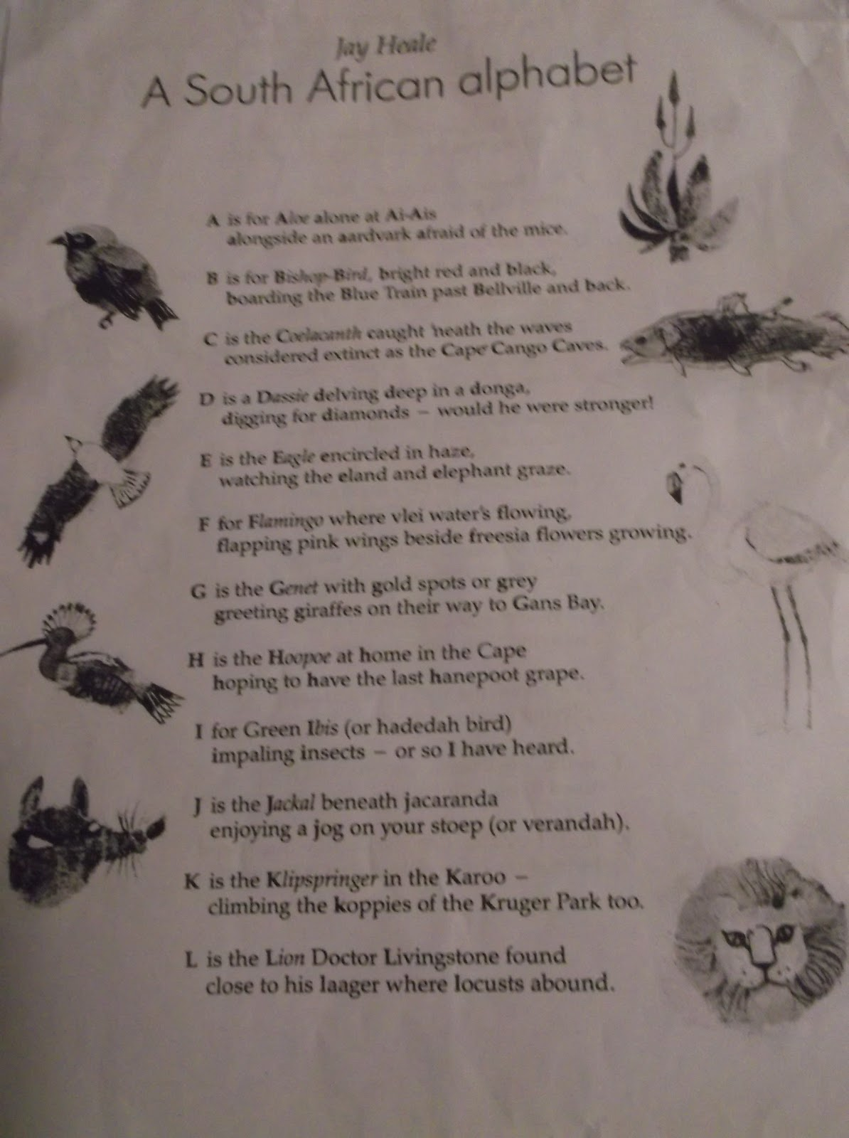 creative alphabet poem Is there a mystic in you, a seeker longing to express potent insights using  rilke's the duino elegies as a focal point, as well as poems by elizabeth bishop, .