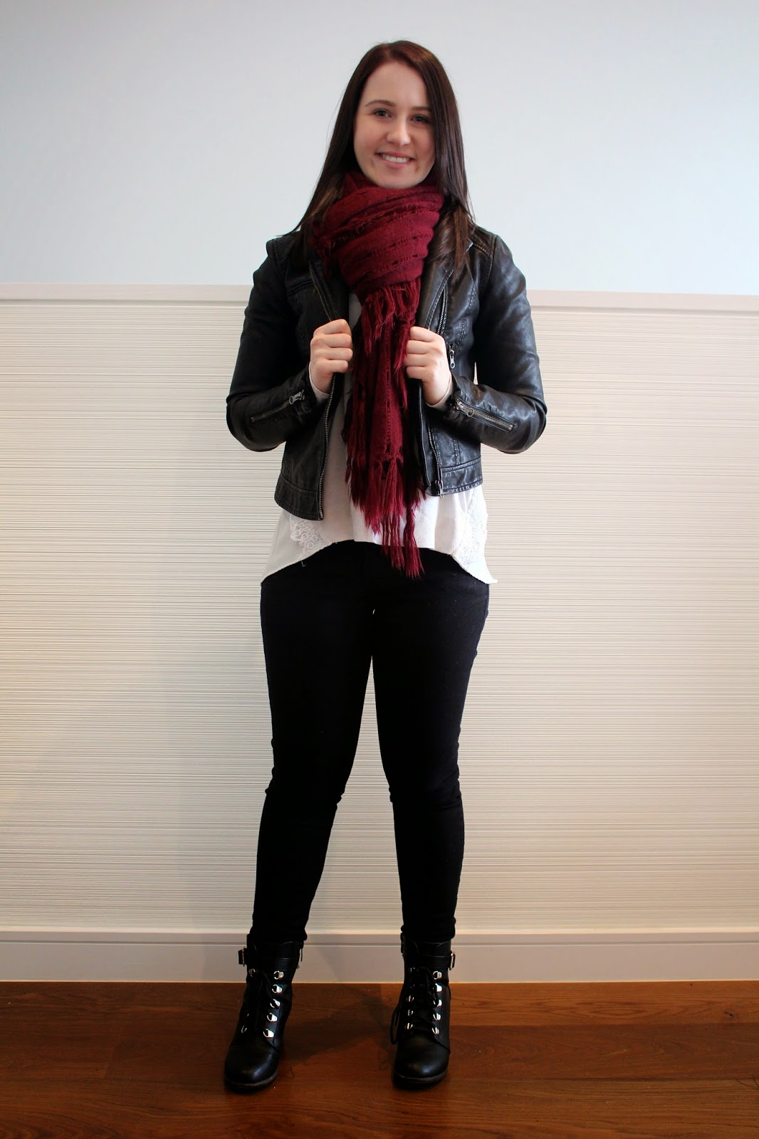 Black skinny jeans, cream and lace knit, black biker booties, black leather jacket, maroon scarf, spring outfit, autumn outfit, fall outfit, winter outfit, everyday outfit