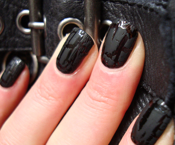 Black leather nails