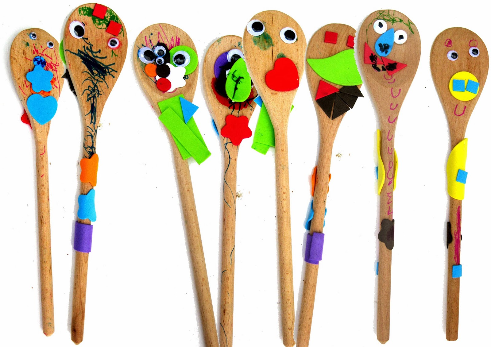 Raindrops and paint pots wooden spoon puppets for Cheap wooden spoons for crafts