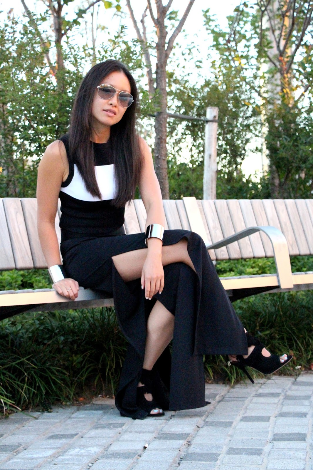 ALC crop top Zara split pants Aquazzura fringe sandals