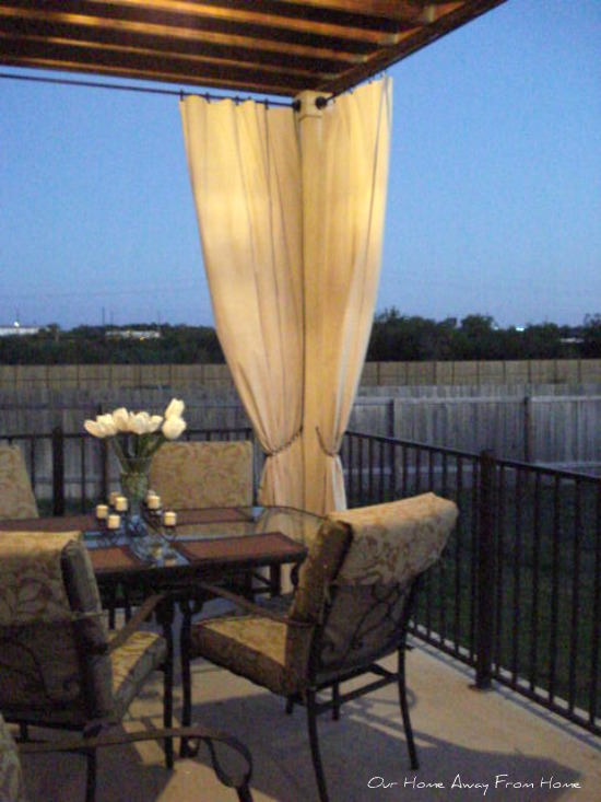 Curtains Ideas curtains made from painters drop cloths : Our Home Away From Home: NO SEW CANVAS DROP CLOTH OUTDOOR CURTAINS