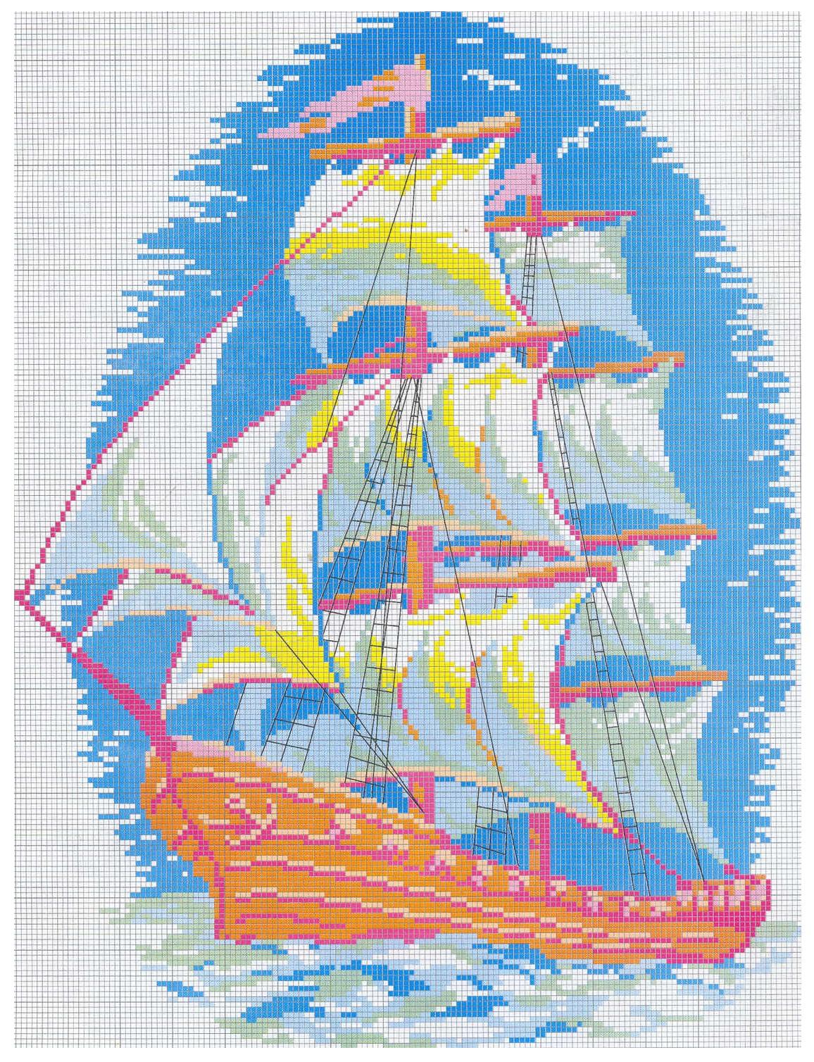 Схема вышивки корабля 97