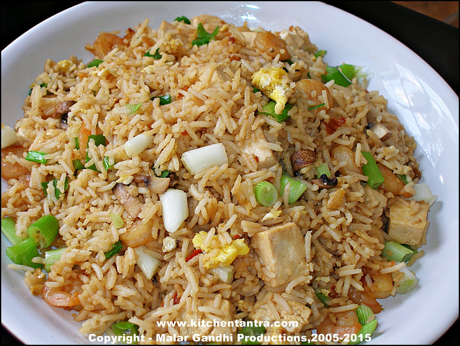 Tofu n Shrimps Fried Rice – Yet Another Variation! | Kitchen Tantra