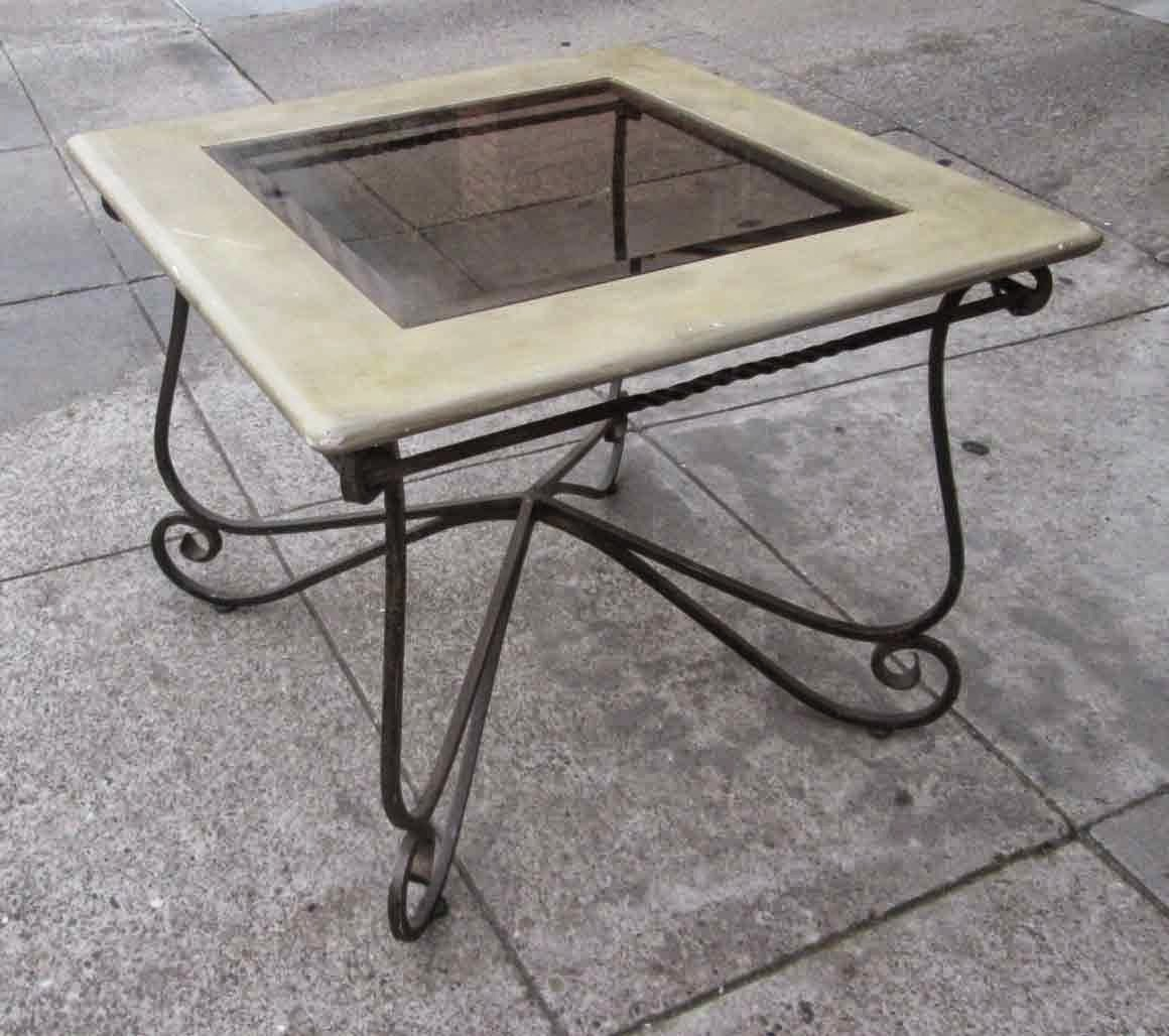 Uhuru furniture collectibles sold wrought iron base end for Wrought iron side table base