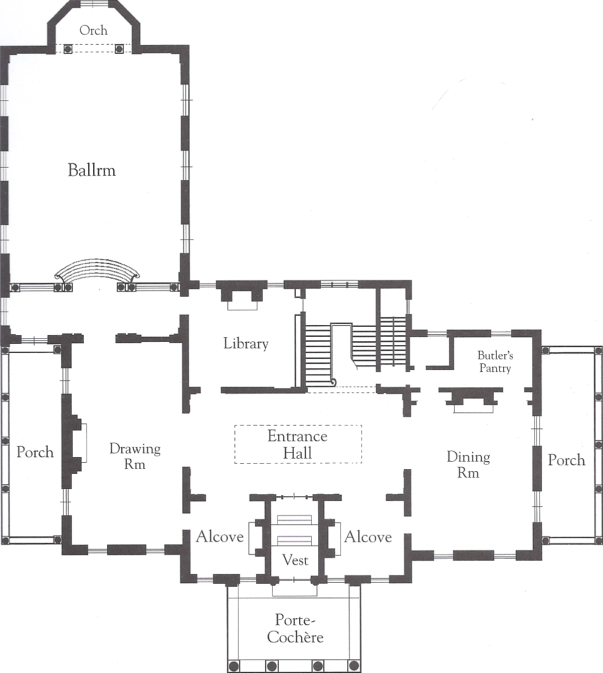 The gilded age era crossways the stuyvesant fish for Floor plans of mansions