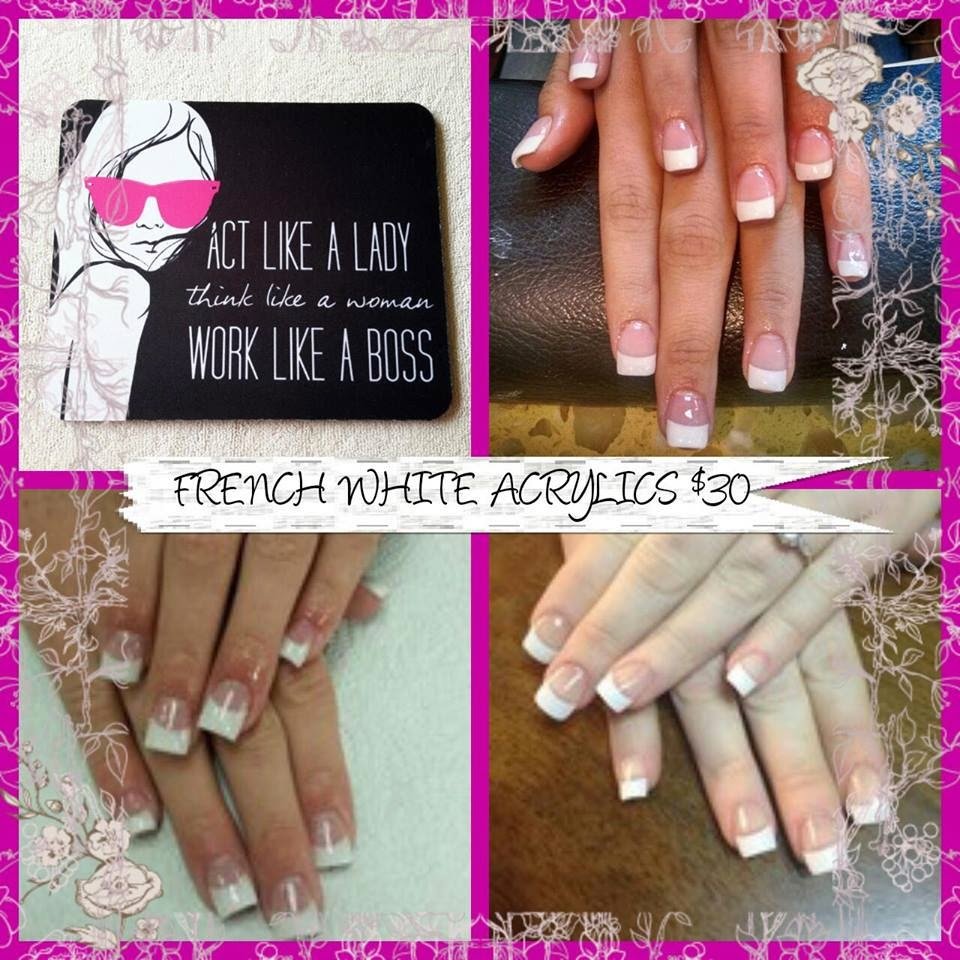 Shellac polish hand paint designs over acrylic extensions  classic white French