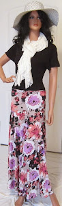 Ladies Abstract Floral Print Maxi skirt in purple and peach