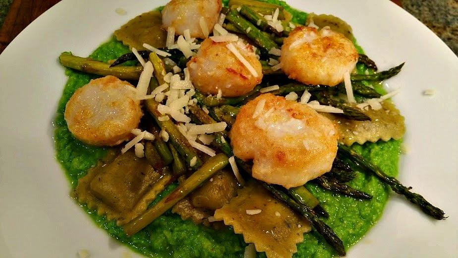Sea Scallops With Asparagus Sauce Recipe — Dishmaps