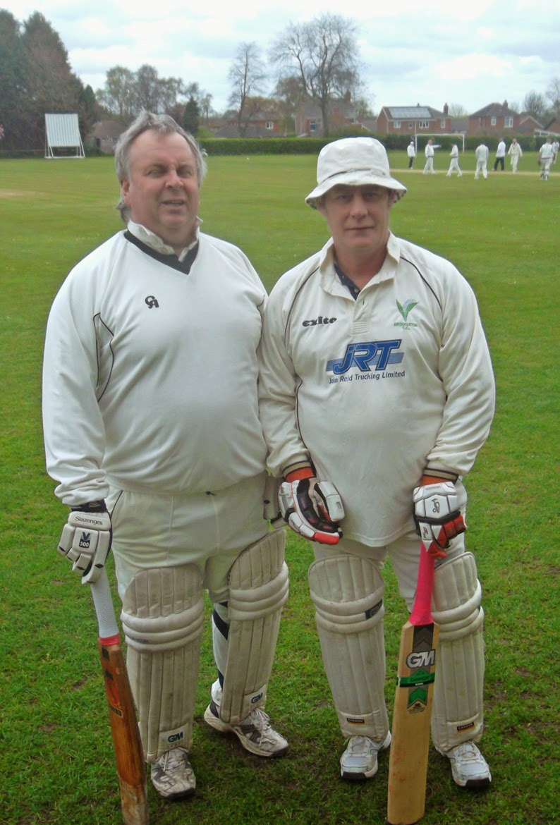 Experienced batsmen Phil Glentworth, left, and Dave Rudd about to open the innings for Broughton 2nds against Brigg Town in the Lincolnshire County Cricket League division four game yesterday - picture on Nigel Fisher's Brigg Blog