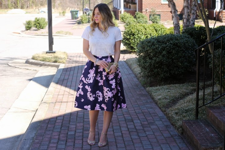 Ombre Hair Color - Raleigh Fashion Blogger - Floral Print Mid Length Full Skirt