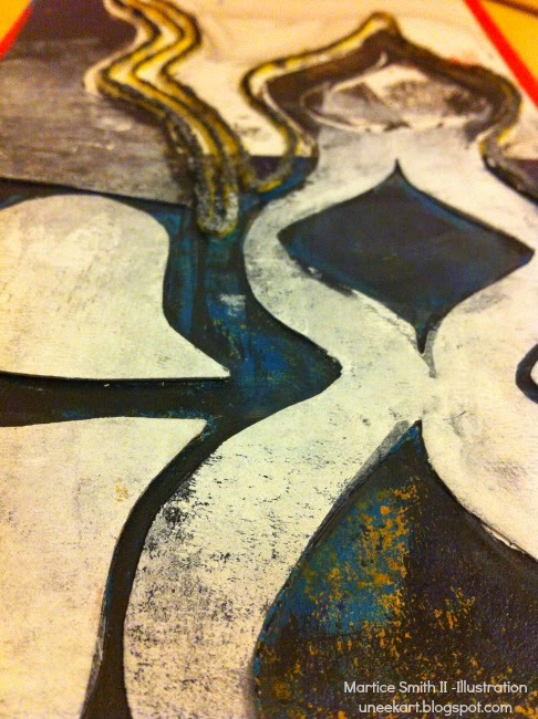 Day 12: Collagraph of cardboard by Martice Smith II
