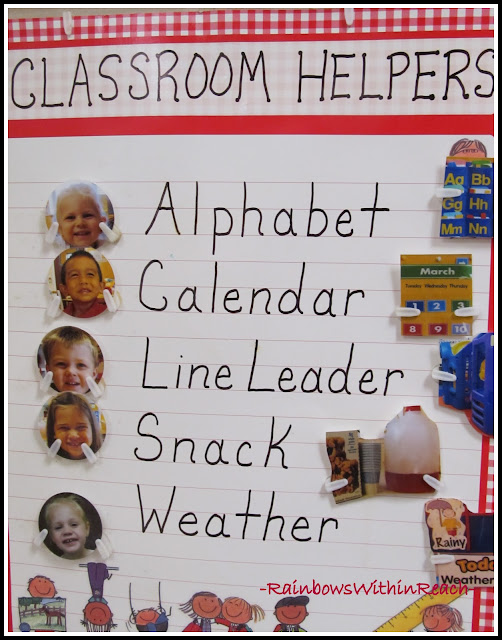 photo of: Preschool Classroom Helper Chart with Photos for Jobs