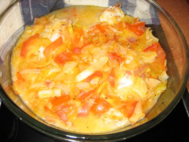 Cena r pida pescado blanco con tomate jam n y vino blanco - Lenguado al microondas ...