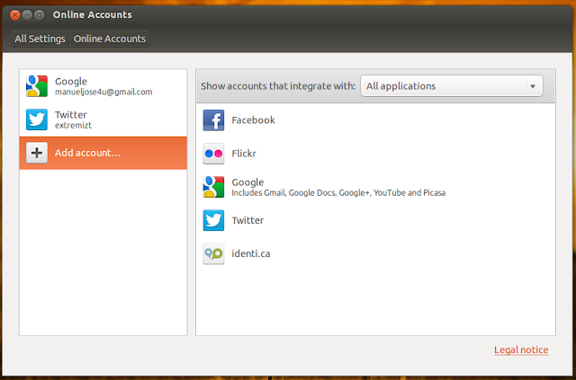 ubuntu online accounts setup