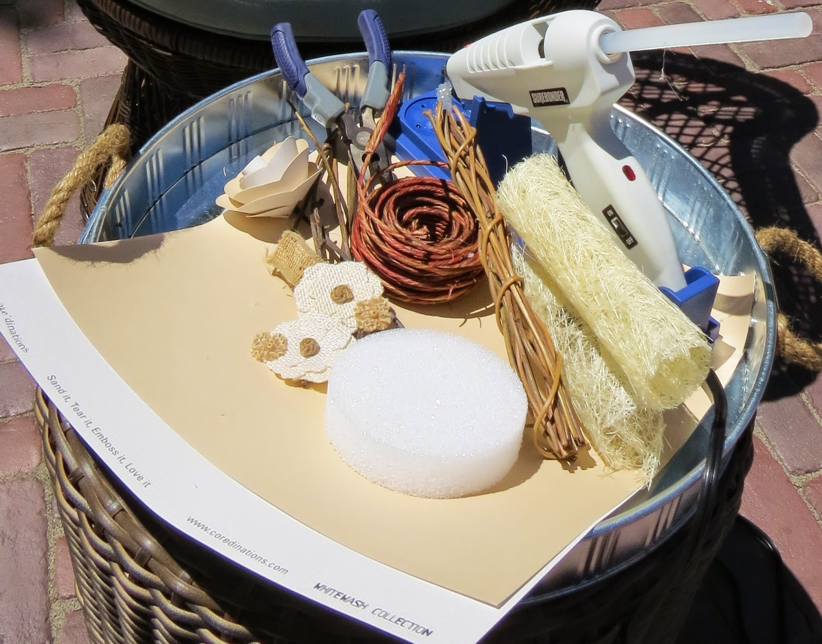 Supplies, Scrapbook paper, Cordless Glue Gun, Wire Cutters, Sisal,  Twigs, Styrofoam, Floral Wire, Burlap