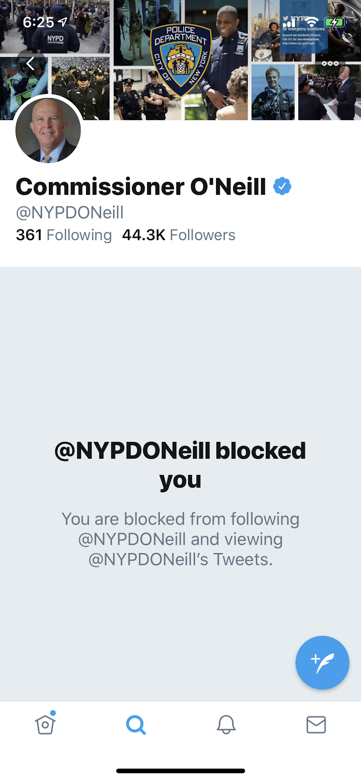 NYPD Police Commissioner Blocks Me a Victim Reporting Crime on Twitter!