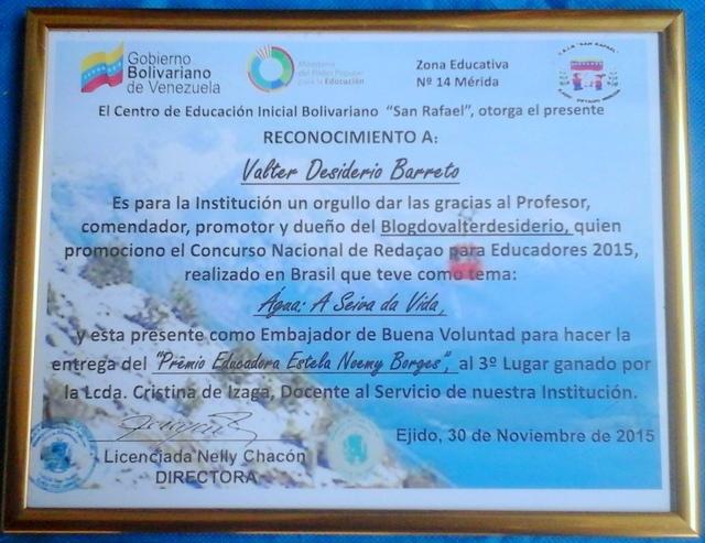 RECONHECIMENTO DE EMBAIXADOR DE BOA VONTADE POR INSTITUIÇÃO EDUCACIONAL VENEZUELANA