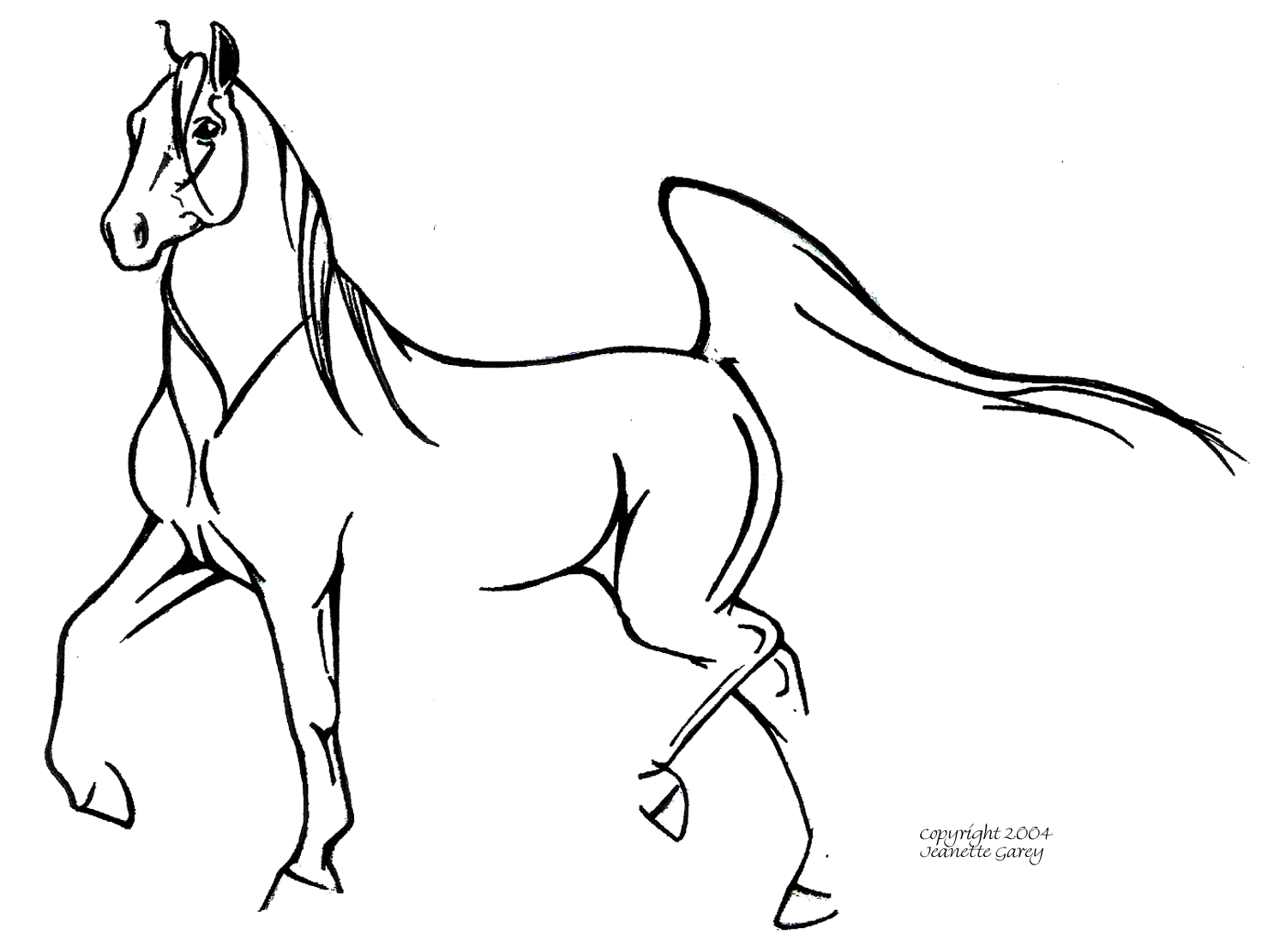 Horse line drawing - photo#5