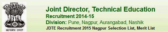 JDTE Recruitment 2015 Nagpur Selection List, Merit List