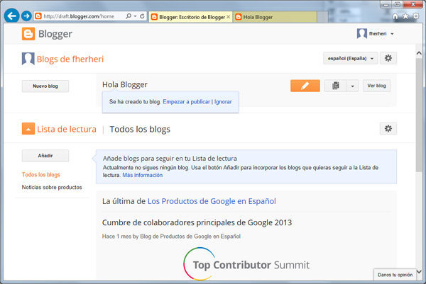 Listado de blogs con nuestro nuevo blog en Blogger