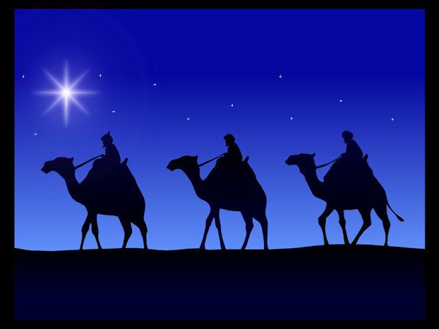 Los reyes magos en direccion que la estrella los ilumina