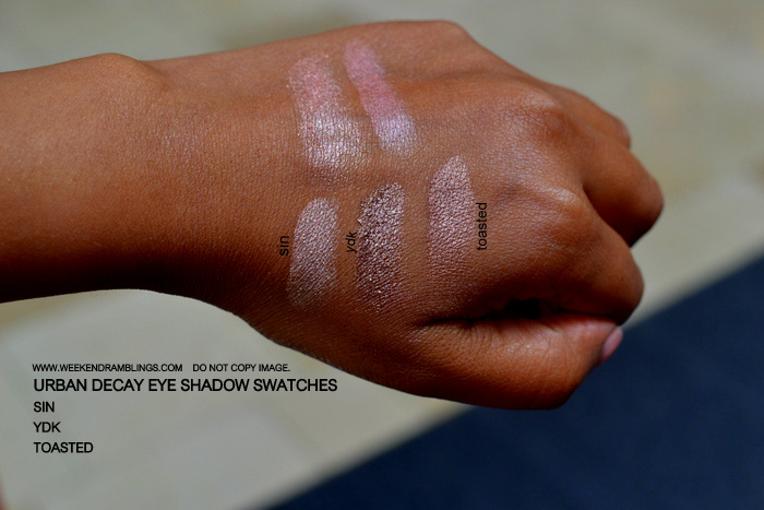Urban Decay Makeup Eyeshadow Indian Beauty Blog Swatches FOTD Brown Beige YDK Sin Toasted