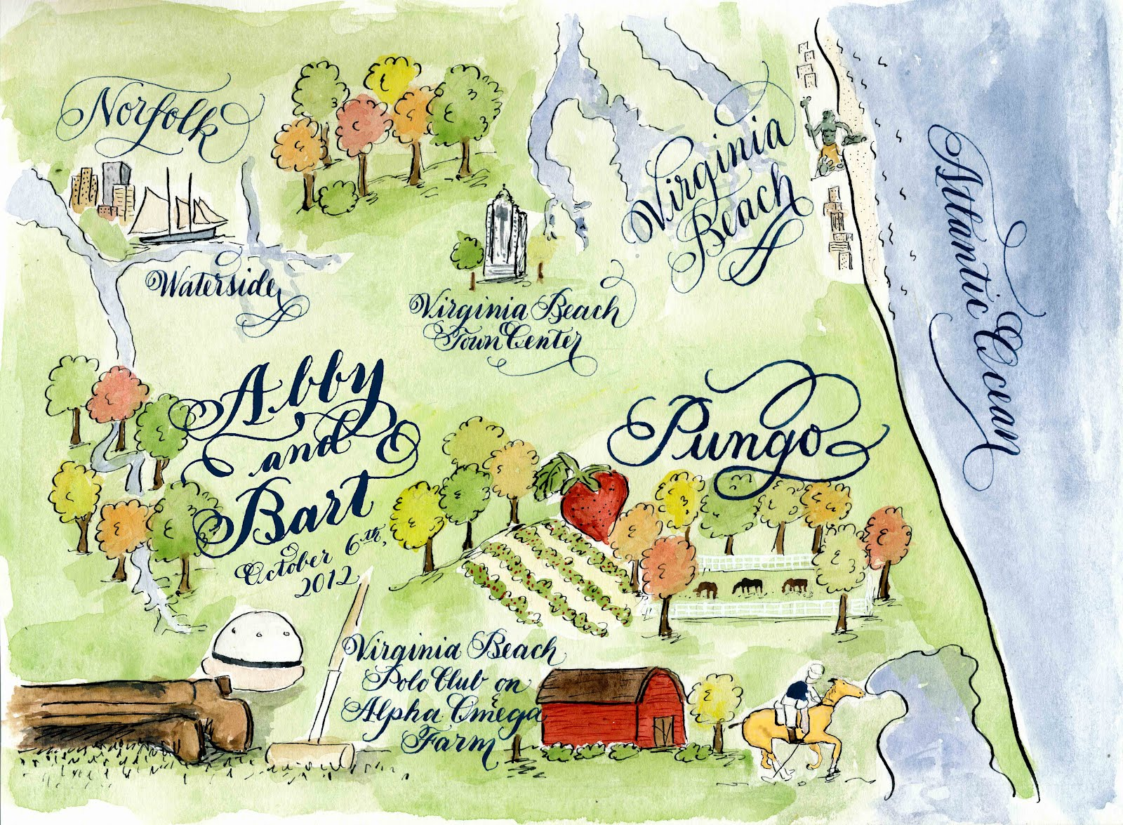 Designs by Robyn Love Virginia Beach Calligraphy Watercolor Wedding Map