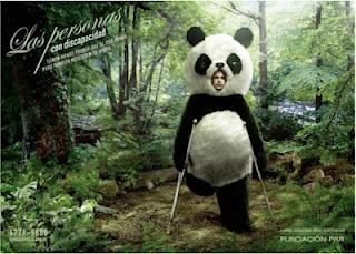 discapacitado disfrazado de oso panda
