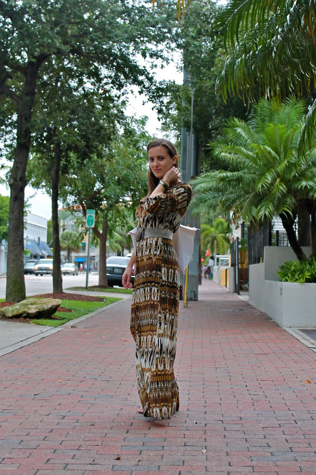 L Boutique, maxi dress, Steve Madden, gladiator sandals, Longchamp, Anthropologie, BCBGeneration, vintage, fashion blogger, style blog, Miami fashion blogger, Miami style, what I wore, ootd