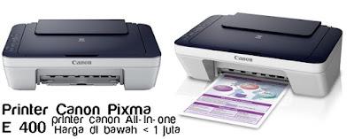Spesifikasi Printer Canon Pixma E400 dan harga terbaru