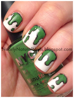 Bartholomew and the Oobleck by Dr. Suess, nail art, 31 Day Nail Challenge - Day 24: Inspired by a book, green and black paint spill nails, No-miss it's dry topcoat