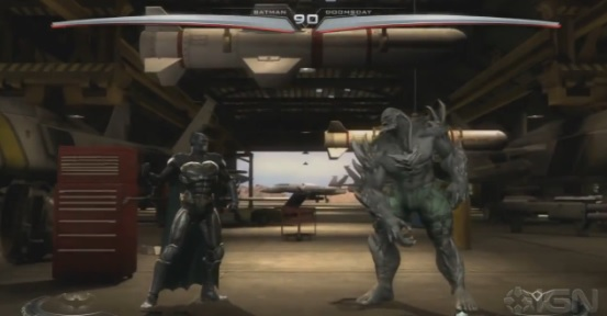 Screenshot of Batman and Doomsday in Wii U version of Injustice: Gods Among Us