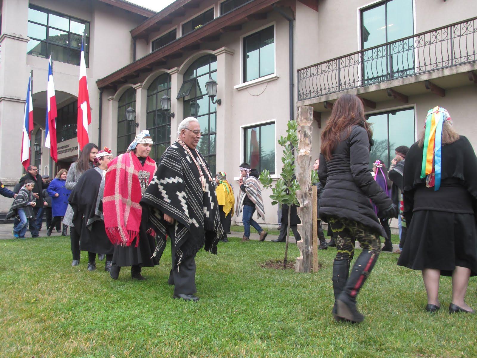 Histórica ceremonia de izamiento bandera mapuche en Municipalidad de Chillán Viejo
