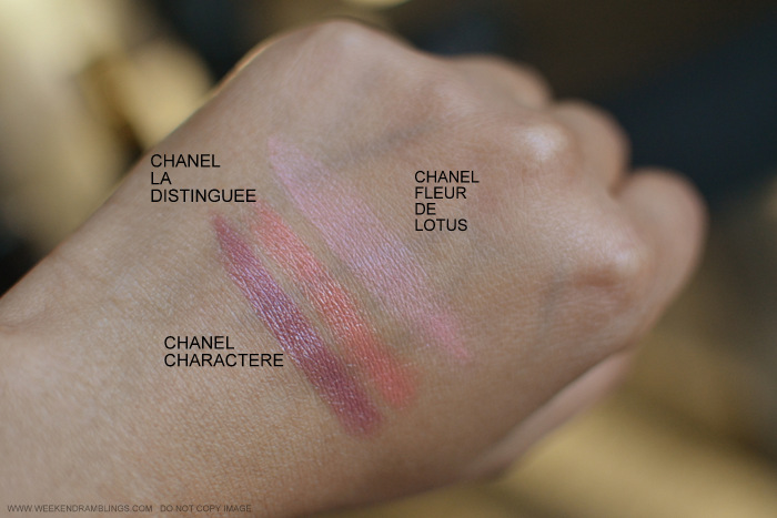 Makeup Swatches - Chanel Charactere La Distinguee Lipstick - Joues Contraste Blush Fleur de Lotus