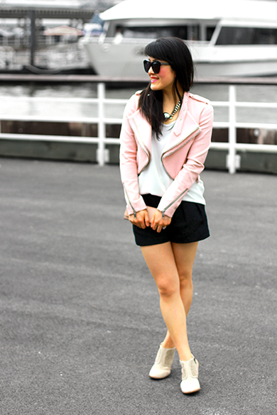 Sole Society Torri suede cutout booties in natural  with Zara pink moto jacket with zips