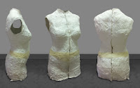 three angles of one plaster mold dummy, from which the dress form will be created