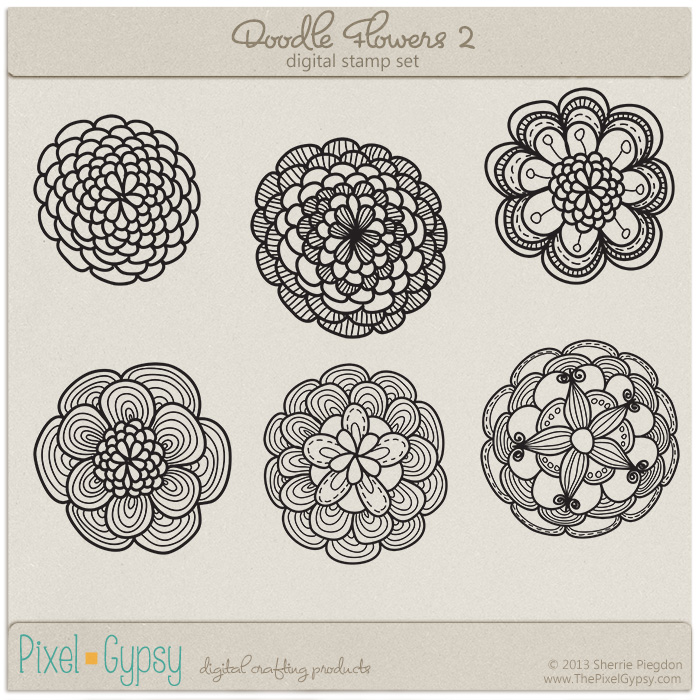 Doodle Flowers 2 Digital Stamp Set