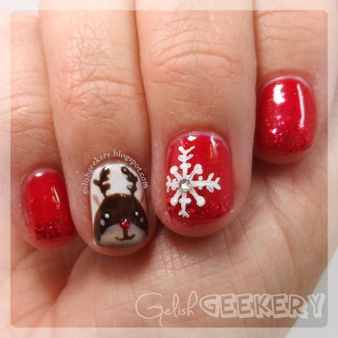 Reindeer Nail Art: Red Reindeer Nails