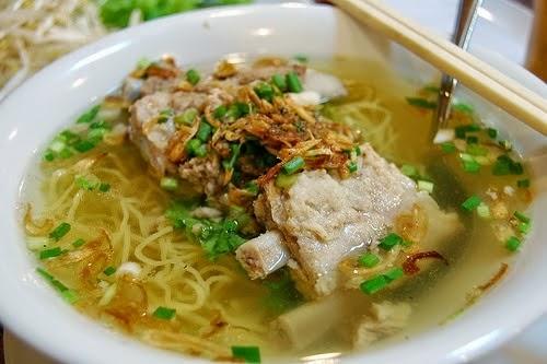Pork Chop with Egg Noodle Soup. (Mì Sườn Heo)