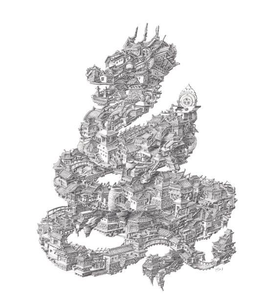 sean edward whelan ilustrações pessoas e casas arquitetura japonesa